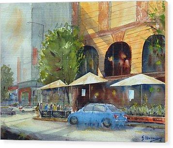 Brisbane Cafe Wood Print