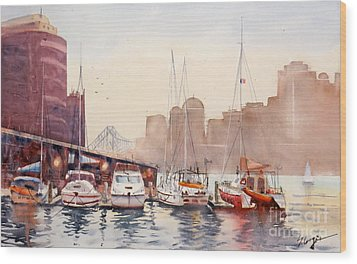 Brisbane River From Gardens Point Wood Print