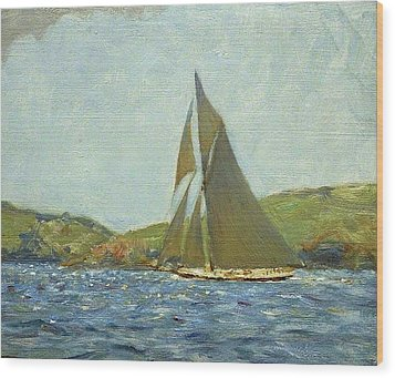 Wood Print featuring the painting Britannia by Henry Scott Tuke
