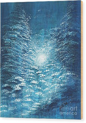 Wood Print featuring the painting Brite Nite by Holly Carmichael