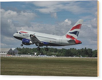 British Airways Airbus A318-112 G-eunb Wood Print