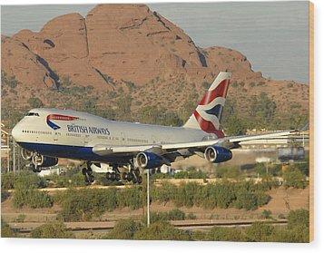 British Airways Boeing 747-436 G-civa Phoenix Sky Harbor October 26 2010 Wood Print by Brian Lockett