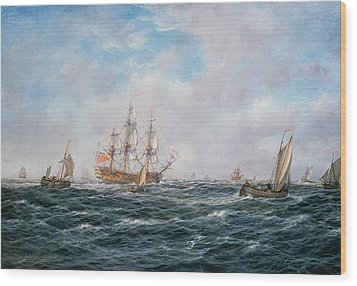 British Man-o-war And Other Craft Wood Print by Richard Willis