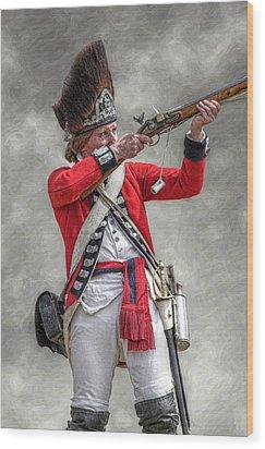 British Redcoat Firing Musket Portrait  Wood Print by Randy Steele