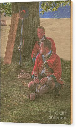 British Soldiers In Camp Wood Print by Randy Steele
