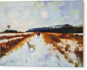 Broadland Walk Wood Print by Valerie Anne Kelly