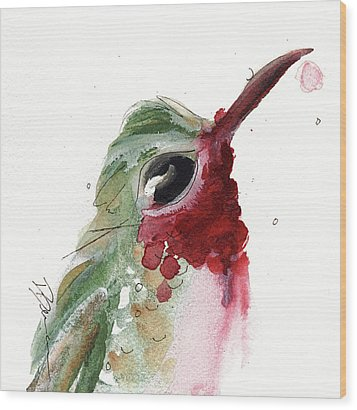 Wood Print featuring the painting Broadtail Hummingbird by Dawn Derman