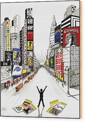 Broadway Dreamin' Wood Print