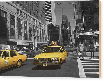 New York Broadway - Yellow Taxi Cabs Wood Print