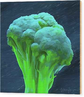 Broccoli 01 Wood Print by Wally Hampton