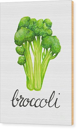 Wood Print featuring the painting Broccoli by Cindy Garber Iverson
