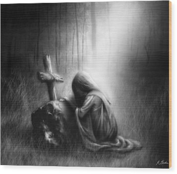 Broken And Contrite Heart Wood Print by Ronald Barba
