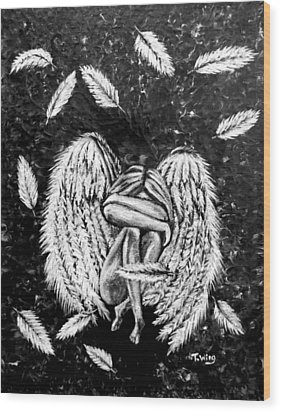 Wood Print featuring the painting Broken Angel by Teresa Wing