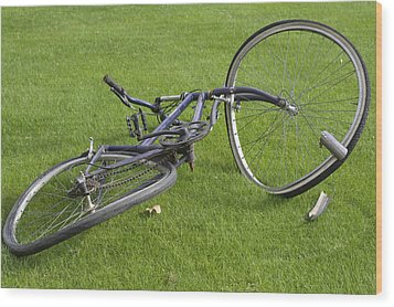 Broken Bicycle Wood Print