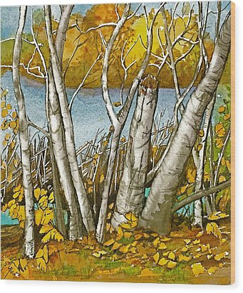 Wood Print featuring the painting Broken Birch  by Lynn Babineau