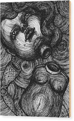 Broken Doll Wood Print by Akiko Okabe