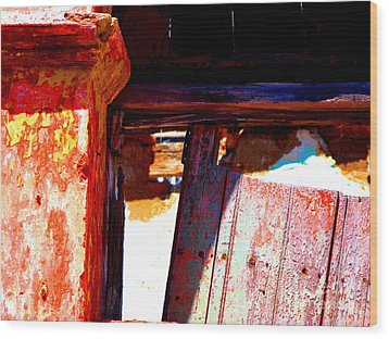 Broken Door By Michael Fitzpatrick Wood Print by Mexicolors Art Photography