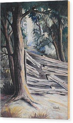 Broken Fence  Wood Print by Bob Hallmark