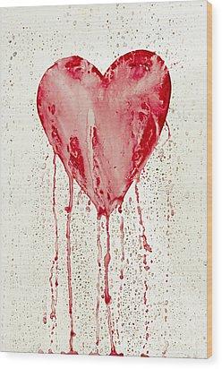 Broken Heart - Bleeding Heart Wood Print by Michal Boubin