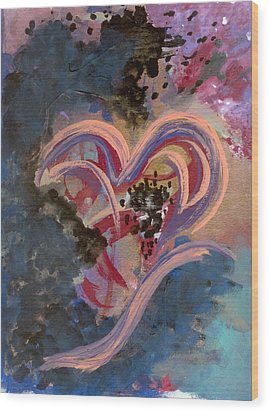 Broken Hearted Wood Print by Helene Henderson