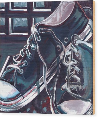 Wood Print featuring the painting Broken-in Converse by Shawna Rowe