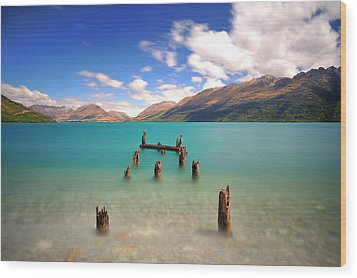 Broken Pier At Sea Wood Print by Photography By Anthony Ko