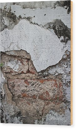 Broken White Stucco Wall With Weathered Brick Texture Wood Print by Jason Rosette