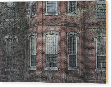Wood Print featuring the photograph Broken Windows On Abandoned Building by Kim Hojnacki
