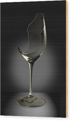 Broken Wine Glass Wood Print by Yuri Lev