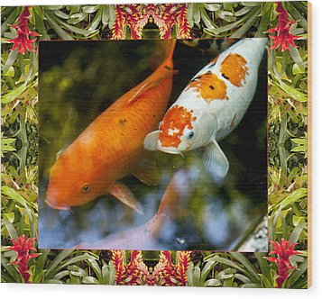 Bromeliad Koi Wood Print by Bell And Todd
