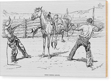 Bronco Busters Saddling Wood Print by Granger