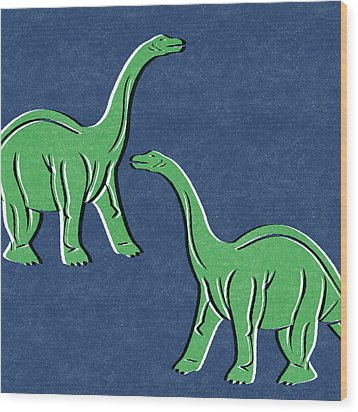 Brontosaurus Wood Print by Linda Woods