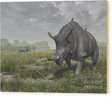 Brontotherium Wander The Lush Late Wood Print by Walter Myers