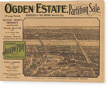 1909 Bronx New York Realtor Flyer Wood Print