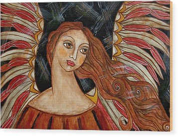 Bronze Angel Wood Print by Rain Ririn