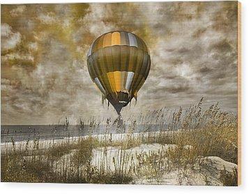 Bronze Beach Ballooning Wood Print by Betsy Knapp