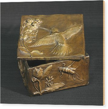 Wood Print featuring the sculpture Bronze Hummingbird Box by Dawn Senior-Trask