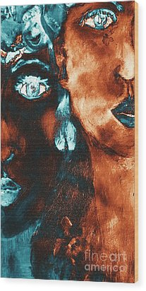 Bronze Sisters Painting Wood Print