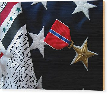 Bronze Star Wood Print by Gene Sizemore