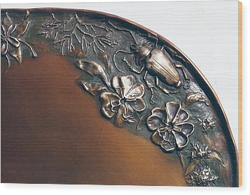 Bronze Tray Detail With Beetle Wood Print by Dawn Senior-Trask