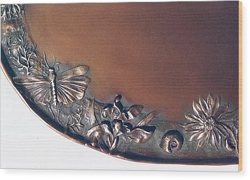 Bronze Tray Detail With Locust Wood Print by Dawn Senior-Trask