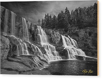 Wood Print featuring the photograph Brooding Gooseberry Falls by Rikk Flohr