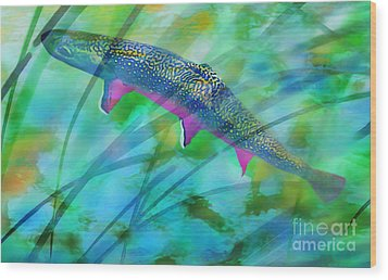 Brook Trout In The Stream Wood Print by Terril Heilman
