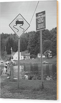 Wood Print featuring the photograph Brookfield, Vt - Floating Bridge 2 Bw by Frank Romeo