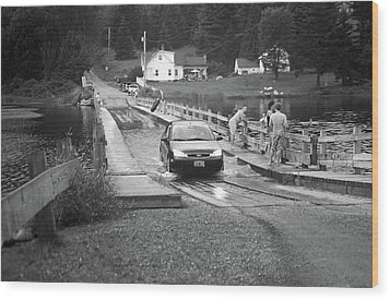 Wood Print featuring the photograph Brookfield, Vt - Floating Bridge 3 Bw by Frank Romeo