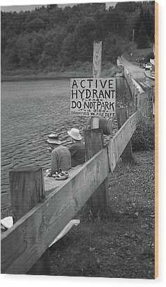 Wood Print featuring the photograph Brookfield, Vt - Floating Bridge 4 Bw by Frank Romeo