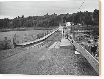 Wood Print featuring the photograph Brookfield, Vt - Floating Bridge 5 Bw by Frank Romeo
