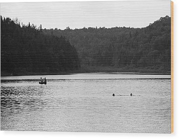 Wood Print featuring the photograph Brookfield, Vt - Swimming Hole 2006 Bw by Frank Romeo