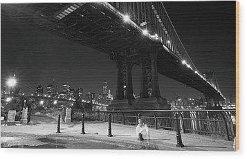 Brooklyn And Manhattan Bridges Wood Print