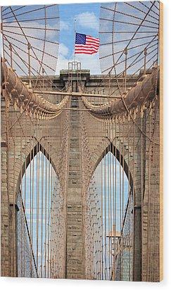 Wood Print featuring the photograph Brooklyn Bridge 2  by Emmanuel Panagiotakis